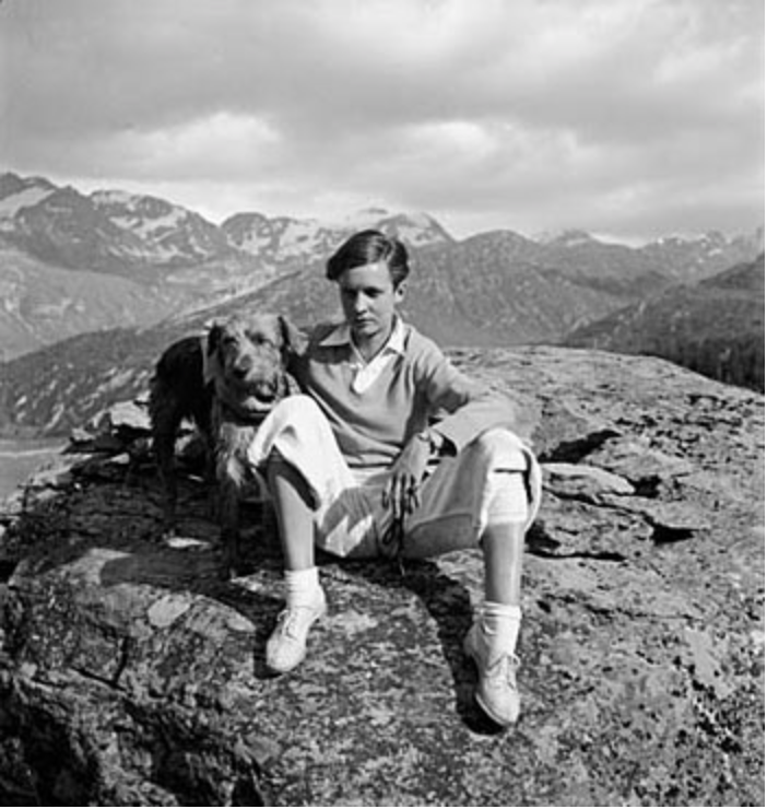 "Lesbian icon, Annemarie Schwarzenbach and her dog, ""Doktor."" Anonymous, circa 1936"