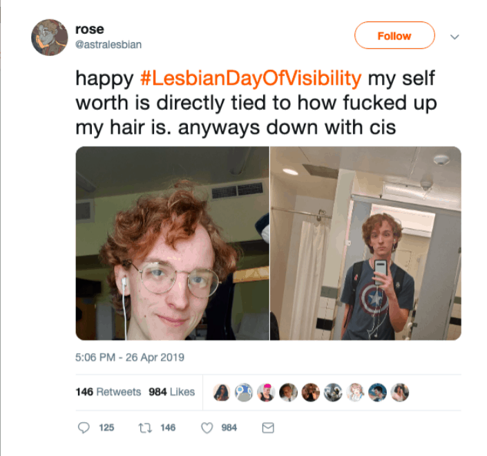 """astralesbian"" on twitter implies lesbians are privileged oppressors"