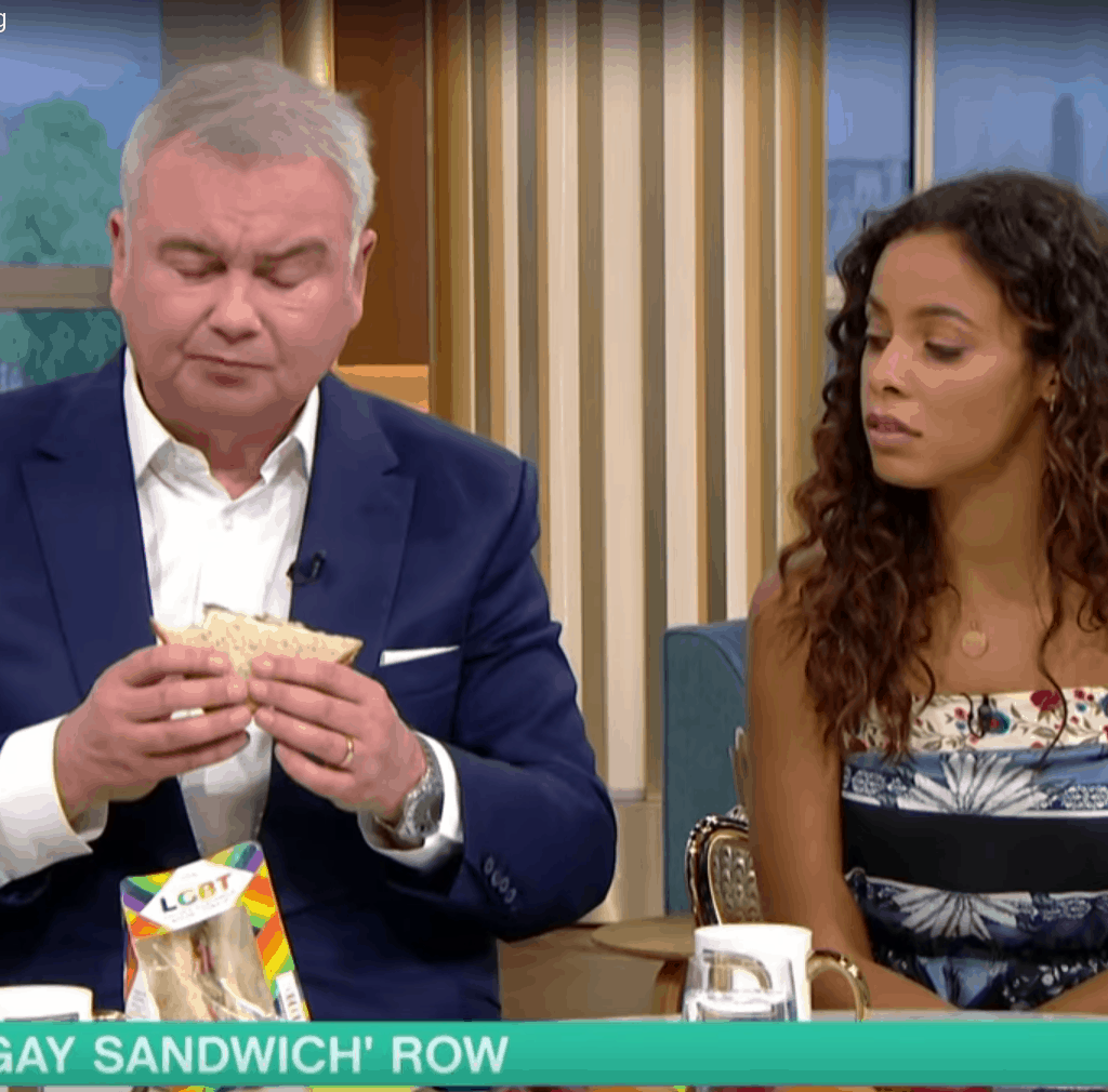 Eamonn Holmes and Rachel Humes discussing LGBT sandwich and cotton ceiling on This Morning