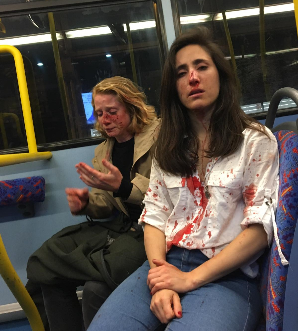 Lesbian couple Melania Geymonat and girlfriend Chris beaten in homophobic attack on London bus