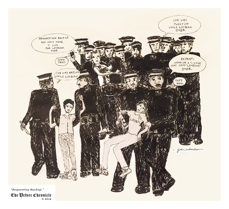 Cartoon, Requesting Backup by Julia Diana Robertson