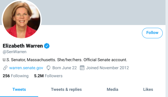 screenshot of Elizabeth Warren's twitter profile