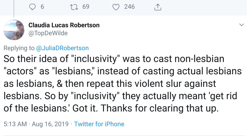 screenshot of Claudia Lucas Robertson  @topdewilde tweet about the L Word reboot