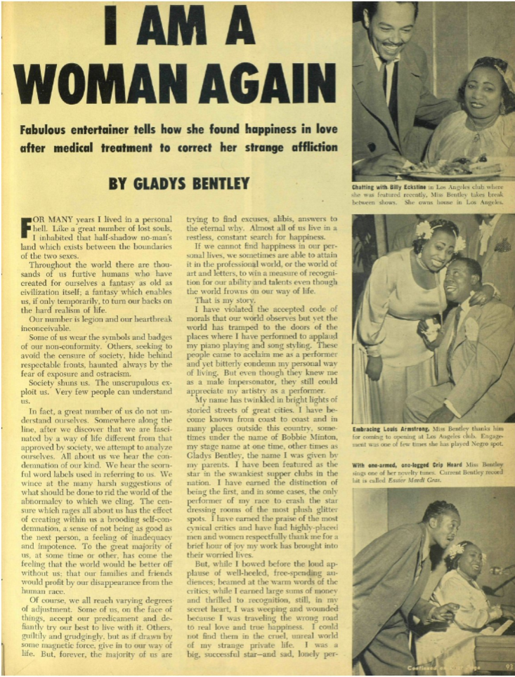 Gladys Bentley in Ebony Magazine, 1952