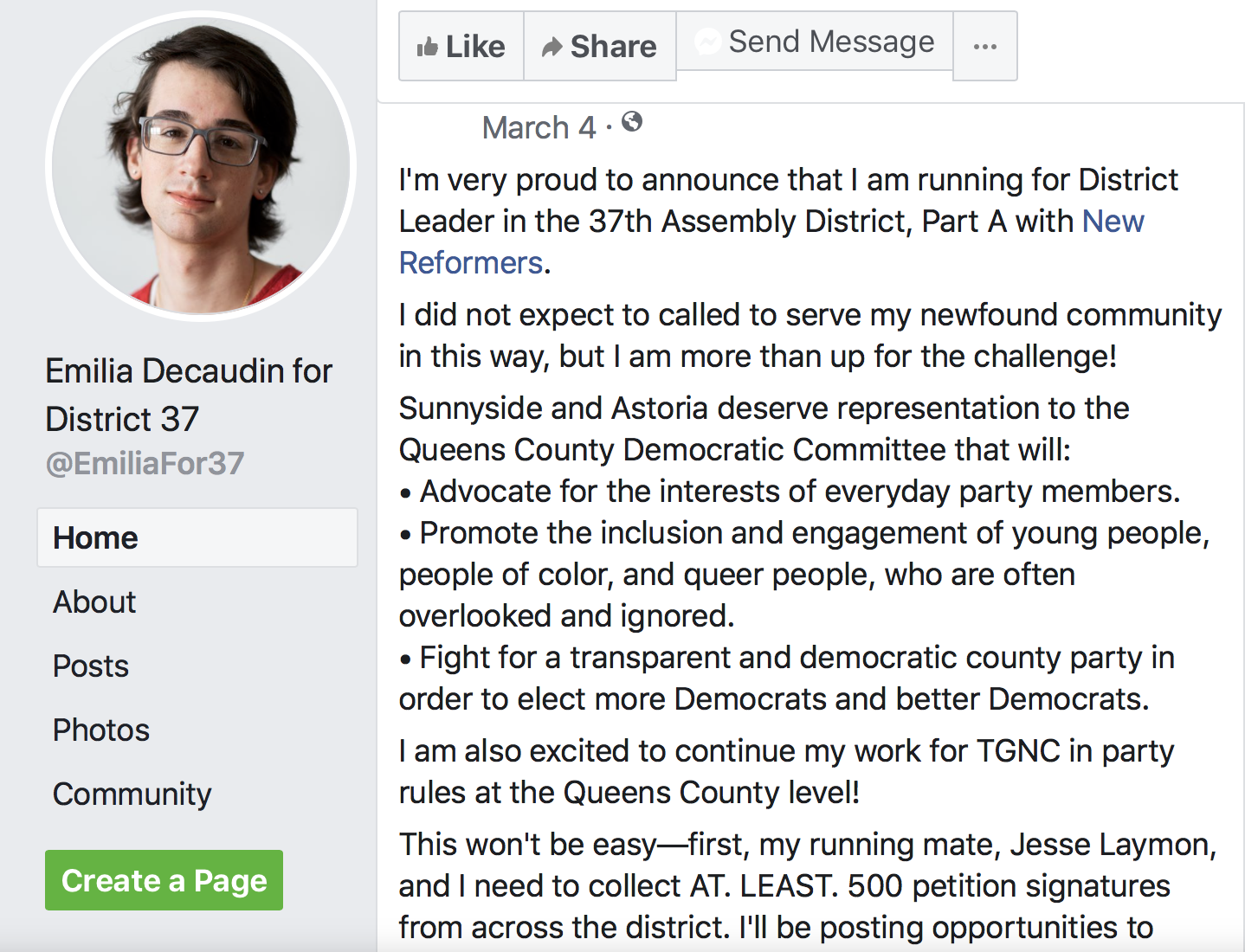 Emilia Decaudin Female District Leader, March 4, Facebook