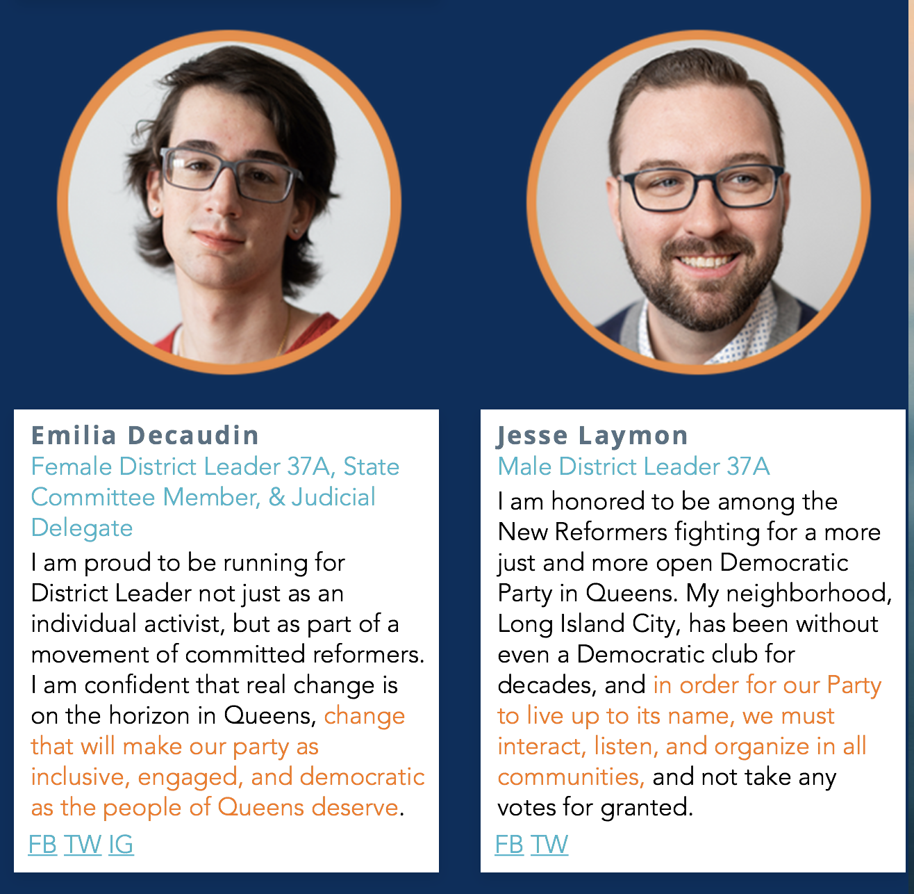 Emilia Decaudin and Jesse Laymon run for Female District Leaderand Male District Leader in Queens County