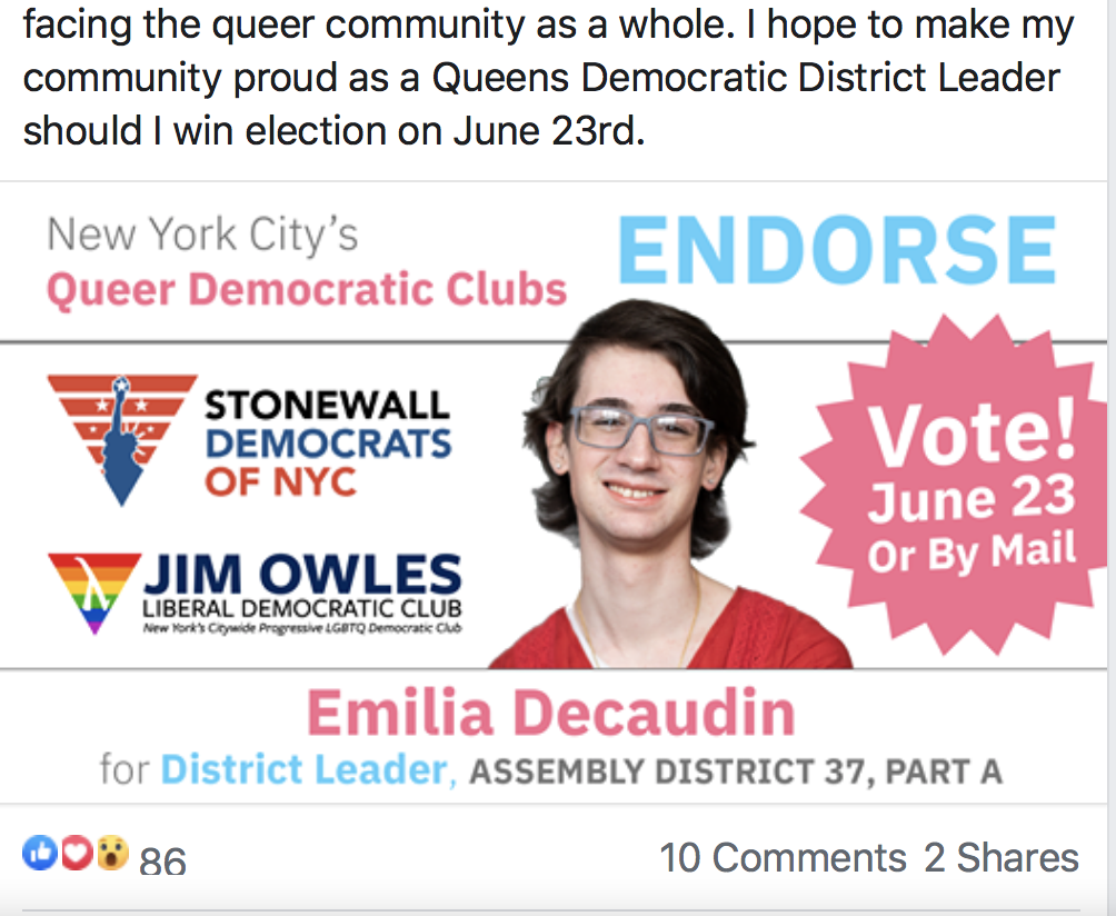 Emilia Decaudin Female District Leader, endorsed by New York City's Queer Democratic Clubs: Stonewall Democrats NYC and Jim Owles Liberal Democratic Club, Facebook