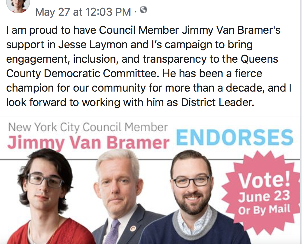 Emilia Decaudin Female District Leader, endorsed by New York City Concil Member Jimmy Van Bramer, May 27, Facebook