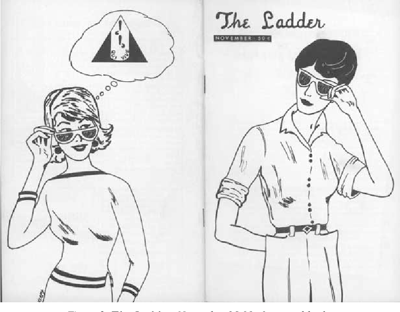 illustration of two lesbians in The Ladder, lesbian publication, November 1960 issue